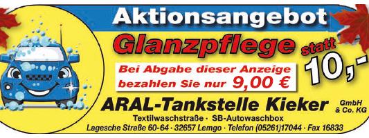 Kieker Tankstelle Lemgo Waschstrasse Angebot